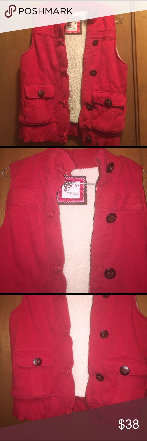 Old Navy Vest Old Navy best. Red with brown buttons. Gently worn, but still looks new. Jackets & Coats Vests