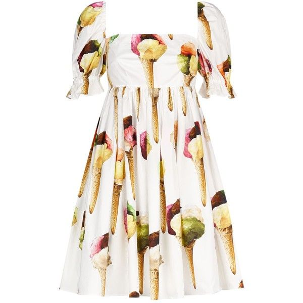 Dolce & Gabbana Ice Cream Print Dress (€1.140) ❤ liked on Polyvore featuring dresses, white day dress, cream dress, white dresses, sleeved dresses and empire dress