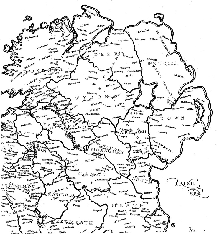 Map of Ulster 13th - 16th Century