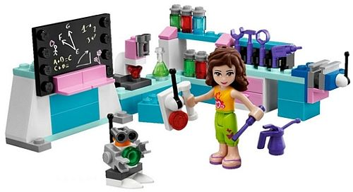 "New lego sets designed for girls -- Fortunately, at least one ""Lego Friend"" seems to care about science/technology as opposed to hairdressing and being a pop star."