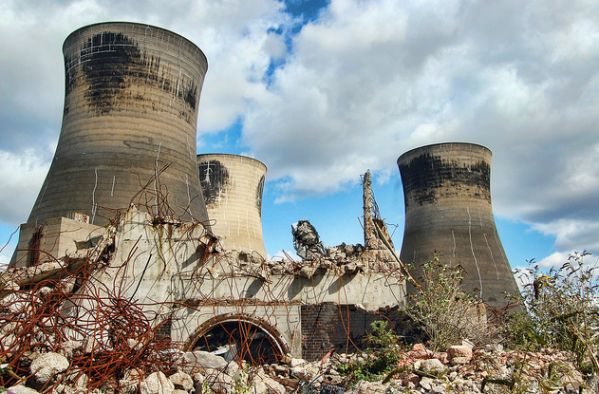 Cooling Towers of Thorpe Marsh Abandoned Power Plant, Doncaster, UK - remained operational until 1994