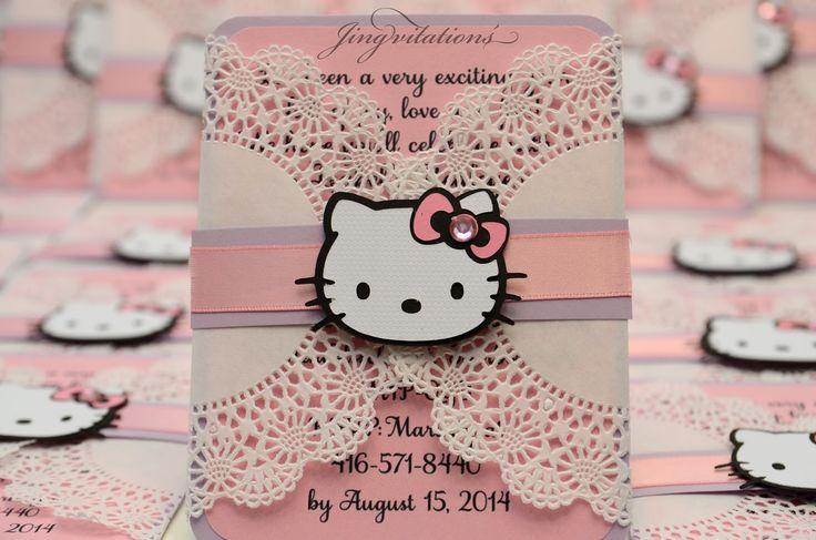doily hello kitty invitations