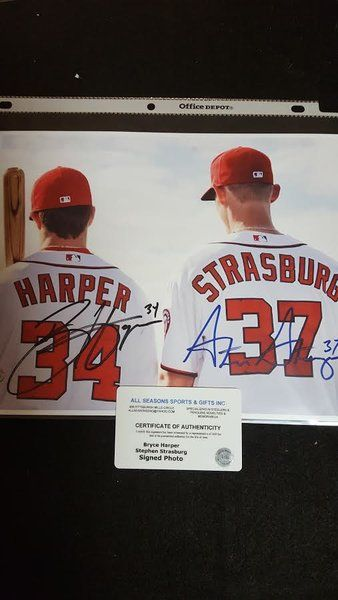 Bryce Harper & Stephen Strasburg Autographed Poster Certified