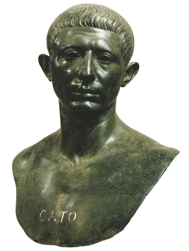 Bust of Marcus Porcius Cato Uticensis. Bronze. 1st century B.C. — 1st century A.D.Rabat (Morocco), Archaeological Museum.