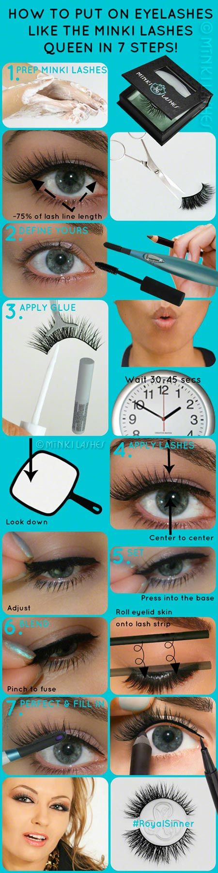 How to Put on Eyelashes by Minki Lashes | Real Mink, Cruelty Free, A-List Hollywood Lashes | Have just read the whole site & am intrigued by these long-life falsies. Also best, detailed application tutorial (written) I've read yet.