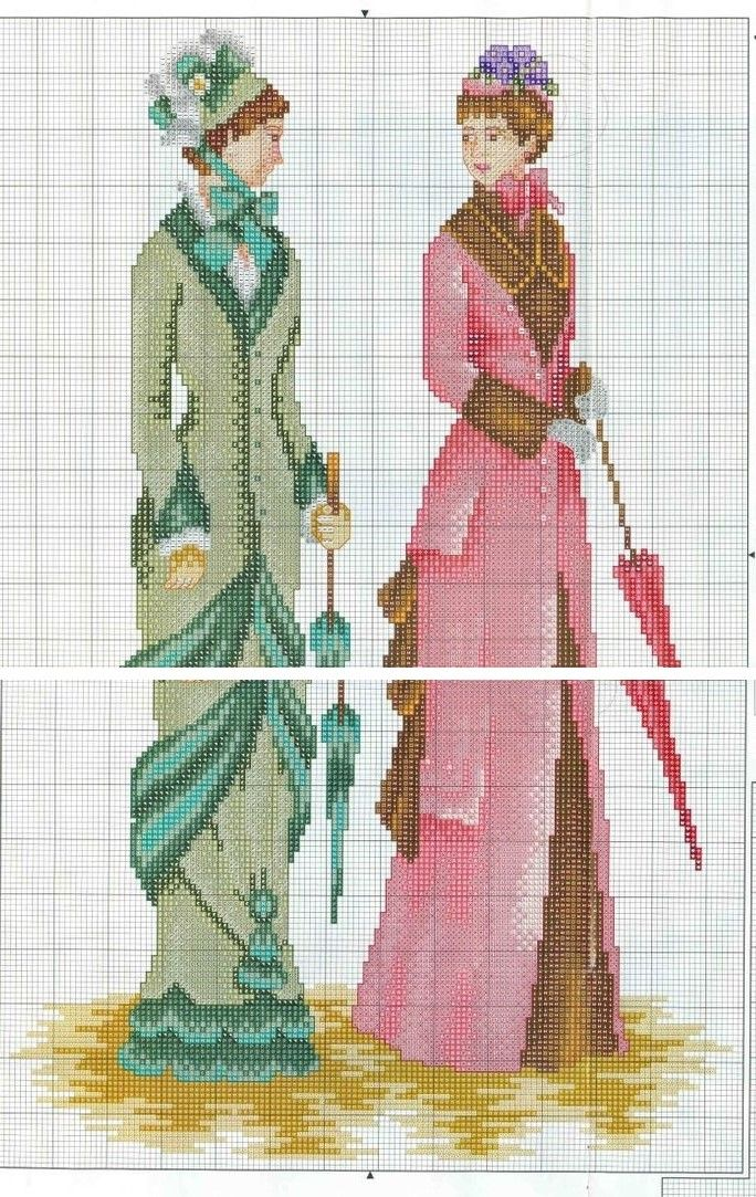 0 point de croix vintage ladies - cross stitch