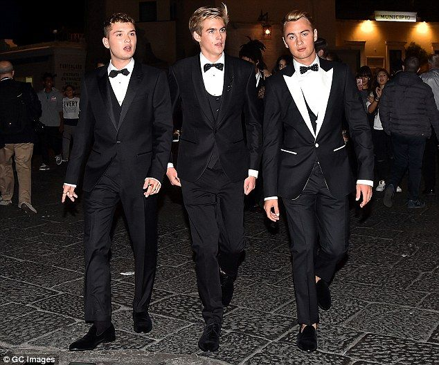 Return of the Brat Pack: When the sons of Jude Law, Cindy Crawford and Pamela Anderson hit the streets of Capri in their tuxes they certainly looked like stars (L-RRafferty Law, Presley Gerber and Brandon Thomas Lee)