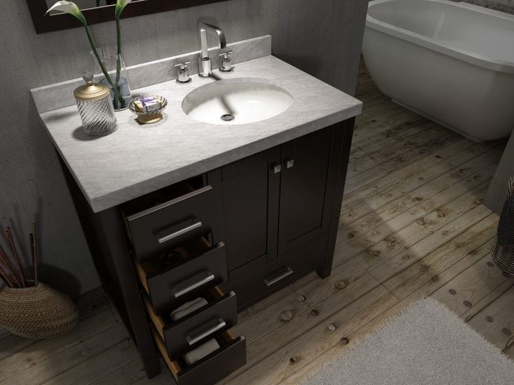 42 Inch Bathroom Vanity With Offset Sink (Saving to show how mirror is centered over entire vanity.)