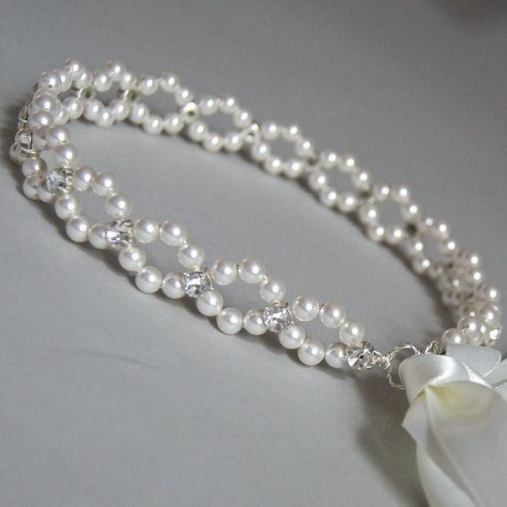 Pearl and ribbon hair jewelry for wedding. Craft ideas from LC.Pandahall.com