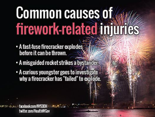 """Fireworks include firecrackers, bottle rockets, glow-worm/snakes that """"glow"""" when ignited, and sparklers. Even sparklers can be lethal because they burn at more than 1,800 ᵒ F - hot enough to melt gold. Always leave fireworks to the professionals."""