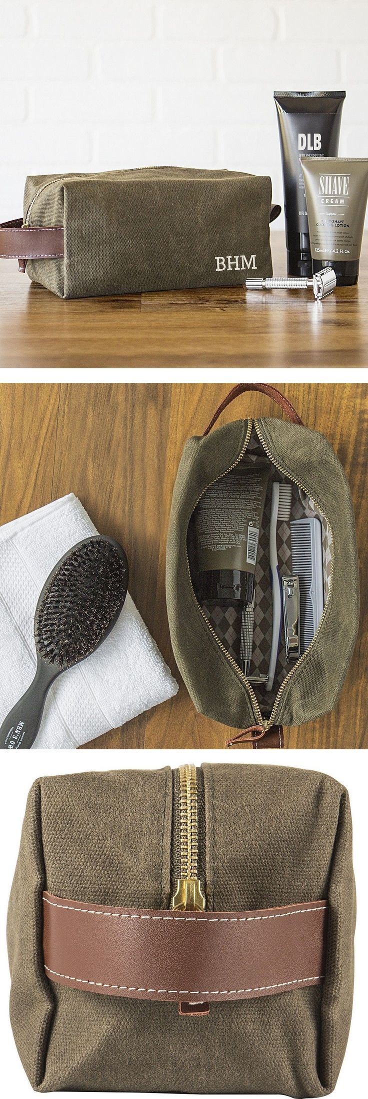 Men's toiletry bags make memorable and useful groomsmen gifts every guy in your wedding party will appreciate. Turn each toiletry bag into a dopp kit by adding a few items your best man or groomsman are sure to need like a lint brush, soap and toothbrush case. He can add his favorite shaving cream, aftershave, soap and razors. This waxed canvas toiletry travel bag is personalized with the man's initials for a unique travel dopp kit any guy on your gift list will love.