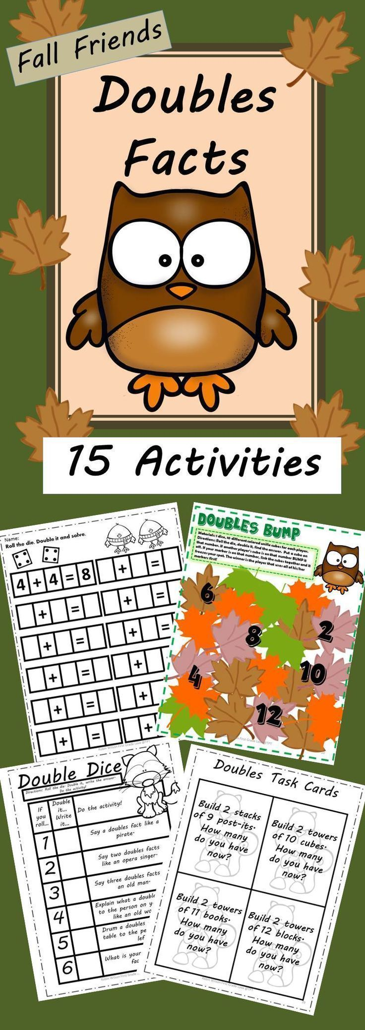 Doubles Facts Math Centers is perfect for your stations while teaching doubles facts. There are 15 math activities included to support your teaching the doubles facts!