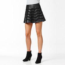 Hot Options Chevron Skater Skirt - Black