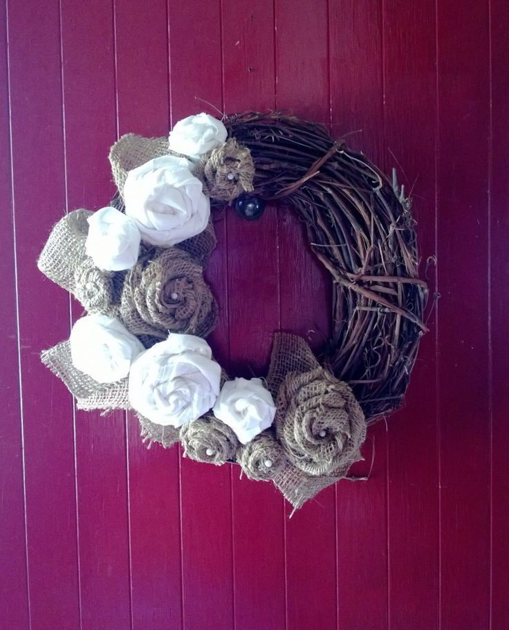 Burlap and Muslin Rosette Wreath