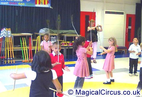 Casterton Primary School children with balancing feathers during the circus skills workshop.   MagicalCircus.co.uk