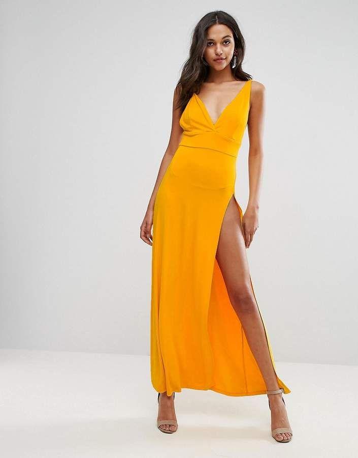 4d0857eaaf ASOS Super Thigh Split Maxi Dress