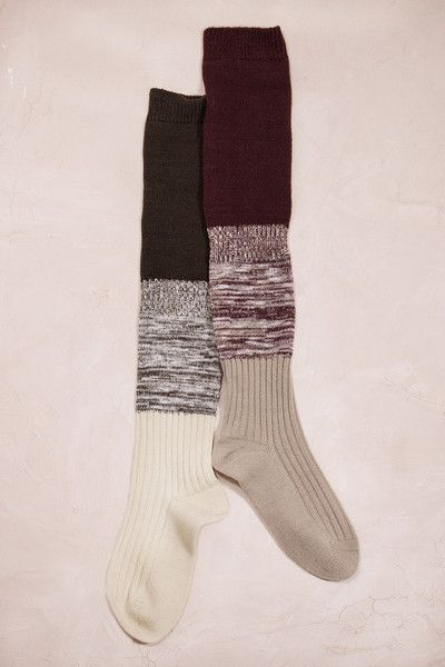 Wool, Cotton and Spandex texture defines comfortable over-the-knee socks shaped from wool blend. Sure to ooze with comfort with a touch of style!- Material: 100