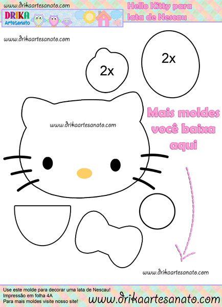 Molde da Hello Kitty para lata de Nescau reciclada | Drika Artesanato - Dicas e sugestões sobre artesanato.