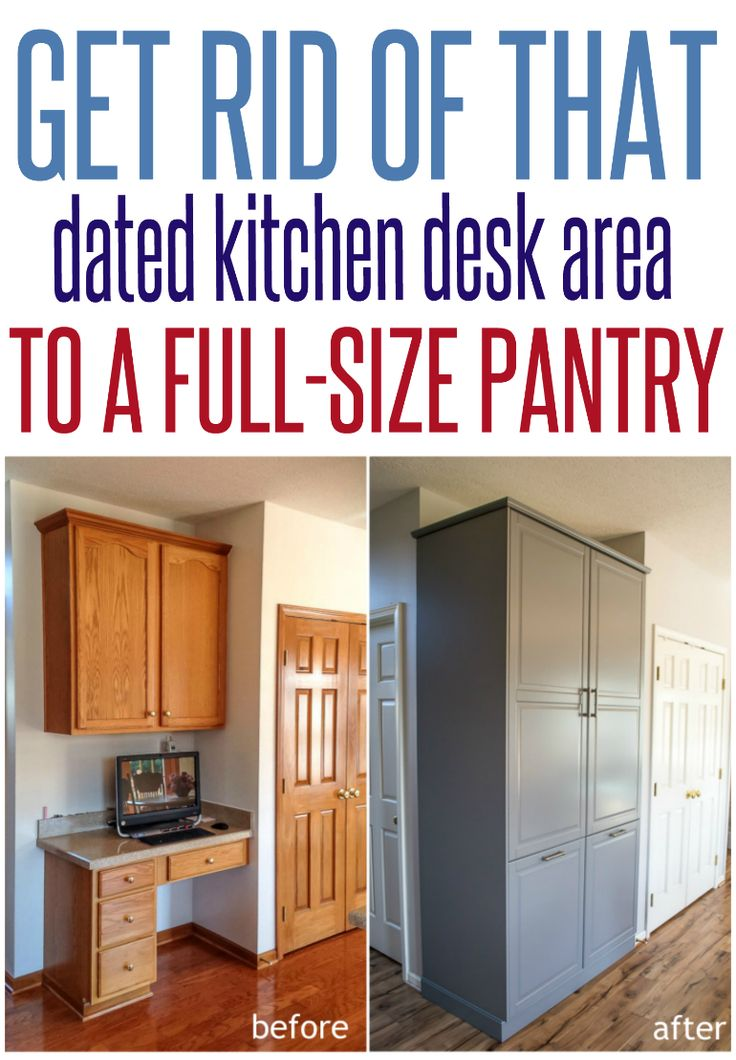 DIY Kitchen Storage Ideas | Turn that dated kitchen desk area into a full size pantry with IKEA Sektion Tall Cabinets!