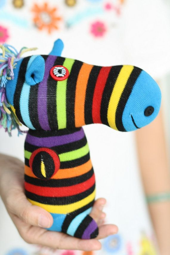 Handmade Sock Zebra Stuffed Animal Doll Baby Toys by hellykary, $12.90