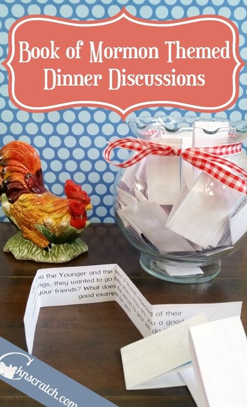 Love this idea! Book of Mormon themed discussions for family dinners!!