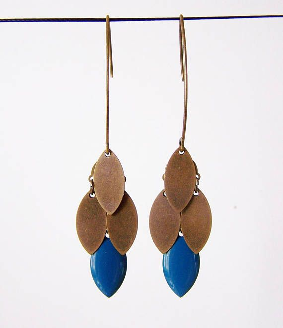 Pato de transporte azul y bronce pendientes de racimo