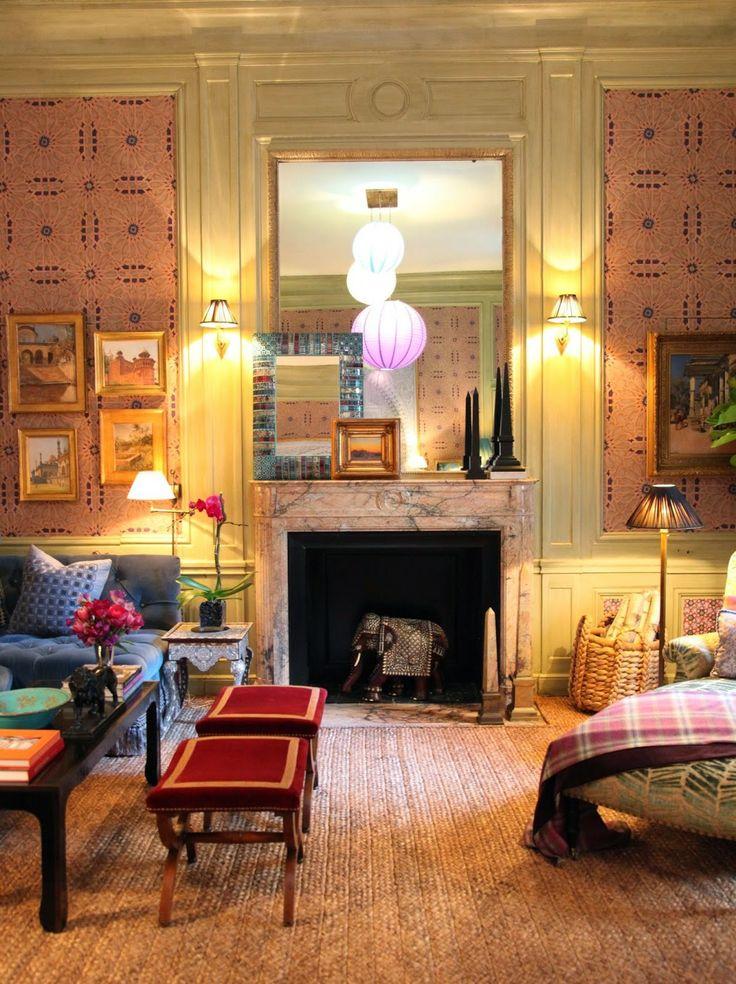 Alexa Hampton's siting room for the 2014 Kips Bay Decorator Show House in NY. From Habitually Chic (1 May 2014). Irish matting on the floor is by Crosby Street Studio.