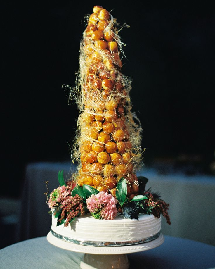 A Gem-Toned Texas Wedding with French Touches | Martha Stewart Weddings - Before jetting off to Paris for their honeymoon, the couple celebrated their union in a French way—by enjoying a croquembouche made by Bakery Lorraine. With the bride's love of all things French it was a fitting touch.
