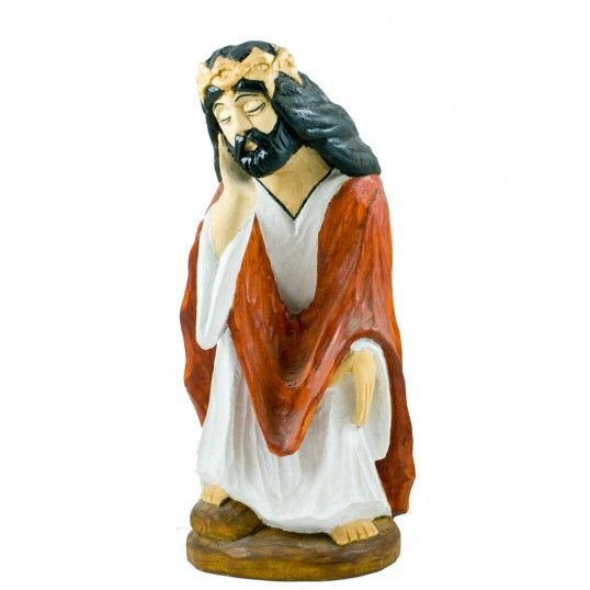 Figure of Pensive Christ carved by the folk artist Mr. M. Gaja. Pensive Christ (Meditating Jesus) is one of the most common motif in polish folk art.