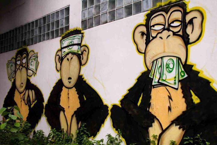 Graffiti found in Manchester (UK). 21st century portrayal of the three wise monkeys.