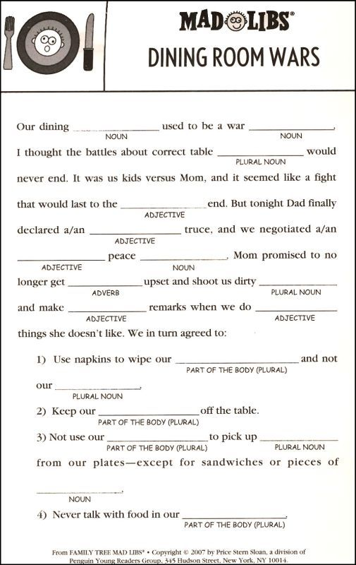 Adorable image in madlibs printable