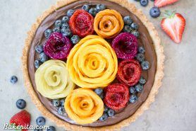 Chocolate Mousse Tart with Coconut Crust + Fresh Fruit Flowers (Gluten Free, Paleo + Vegan)