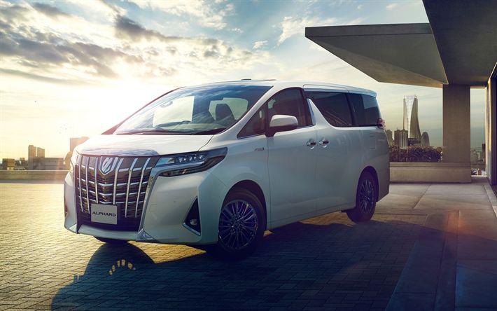 Download wallpapers Toyota Alphard, 4k, 2018 cars, vans, Executive Lounge, new Alphard, Toyota