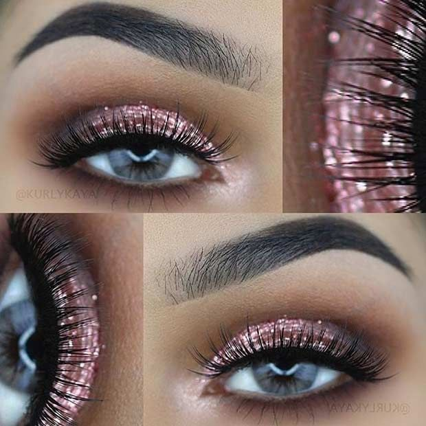 Rose Gold Glitter Eye Makeup | hookedupshapewear.com!