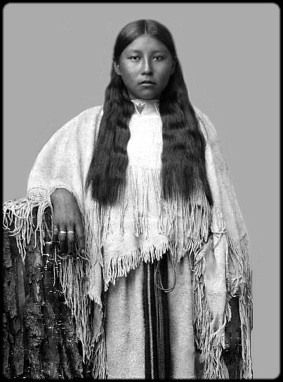 Portrait of Amie Kiawan, a Kiowa woman. Photographed between 1890 and 1895.
