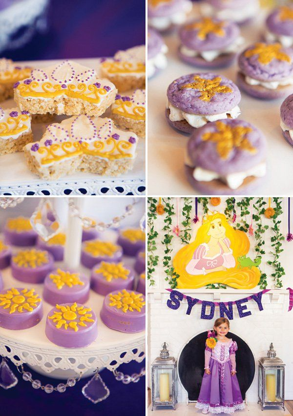 purple tangled party desserts
