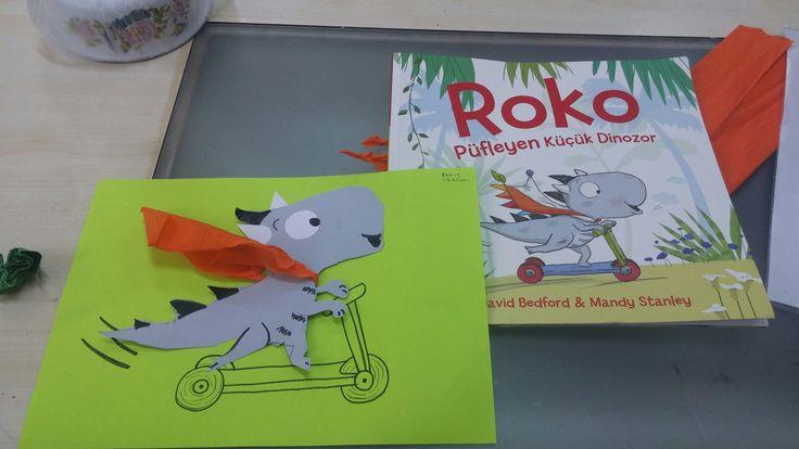 Roko pufleyen küçük dinozor. Okulöncesi etkinlikleri.