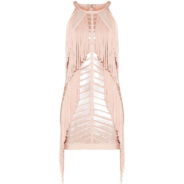 Herve Leger Krista Sequined Fringe Dress (32.495 ARS) ❤ liked on Polyvore featuring dresses, herve leger, vestidos, mid thigh dress, bandage dresses, sequin body con dress, herve leger dress and pink bandage dresses