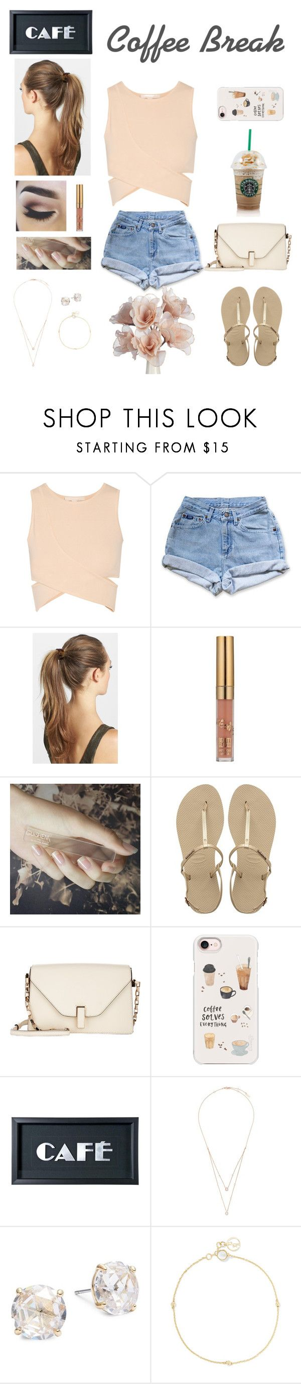 """""""Coffee Errand"""" by beauty55 ❤ liked on Polyvore featuring Jonathan Simkhai, Levi's, France Luxe, GUiSHEM, Havaianas, Valextra, Casetify, Messika, Kate Spade and Anissa Kermiche"""
