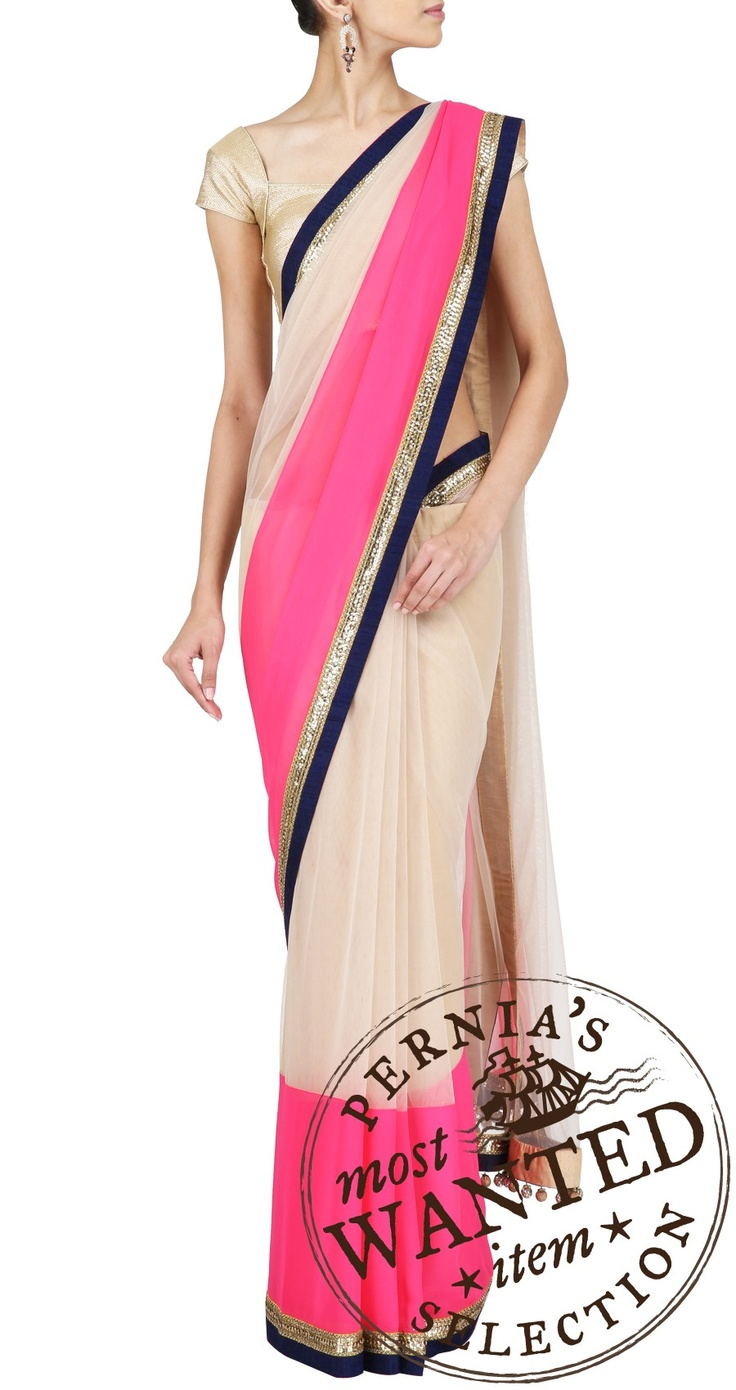 Manish Malhotra nude net sari with neon pink chiffon and navy blue raw silk border