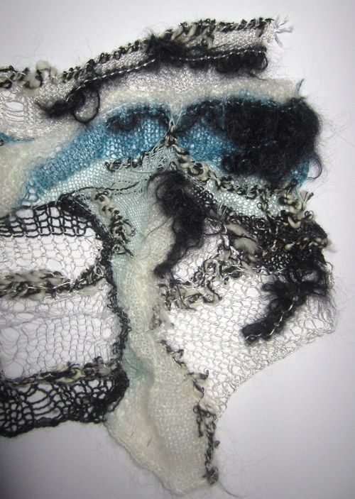 Lois Albinson - Fine and Chunky knitted sample details (spider-web knit)