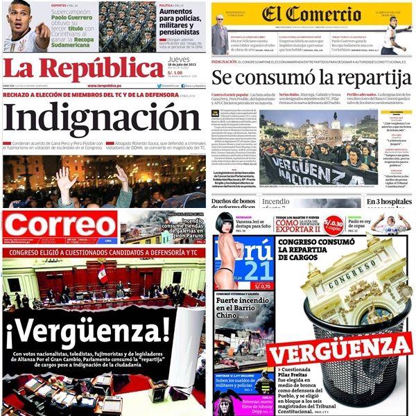 Los principales periódicos de Perú, de diferentes ideologías y tendencias, se pronunciaron ante el escandaloso suceso que convocó a cientos de jóvenes a salir a las calles del centro de la ciudad.