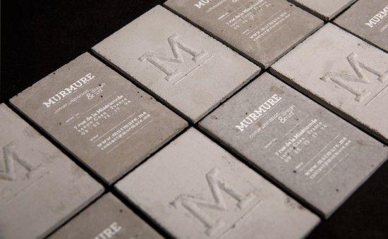 Concrete Business Cards  L'agence créative Murmure basée à Caen a pu réaliser une série de cartes de visite en utilisant le béton.