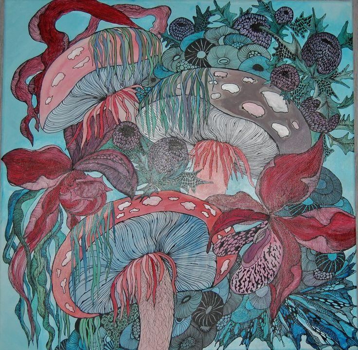 Alice`s mushrooms Anna Strøm 2015. original painting , size 50 cm X 50 cm canvas, acrylic, black ink 350 EURO http://www.design-of-norway.no