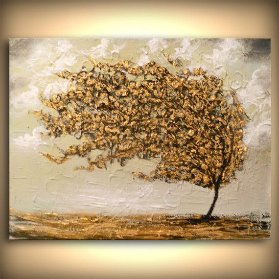 Art original peinture texture lourde arbre peinture par mattsart