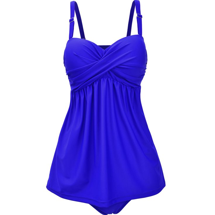 Women's Twist Front Bandeau Skirt Swimsuit Solid Two Piece Swimsuit Over The Shoulder Halter Swimwear For Female Bathing Suit
