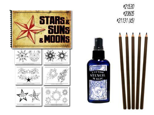Stars, Suns and Moons Tattoo Flash Art Book Stencil Pencils Supplies by Superior Tattoo Equipment. $19.80. Here's the tattoo reference set you've been waiting for! This lot of supplies has a great flash book filled with Stars, Suns and Moons! Do just one tattoo from any one of this book and you'll pay for everything! Plus this set comes with a 5 pack of Stencil Pencils a 2oz bottle of Tattoo Stencil Magic. The best stencil application spray on the market!