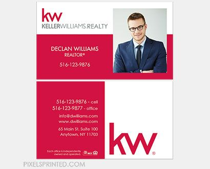 keller williams realtor DELUXE business cards - thick, color both sides - FREE UPS ground shipping