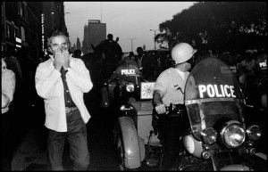 USA. Chicago, Illinois. 1968. Michelangelo ANTONIONI during the riots outside the Democratic Convention.
