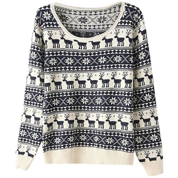 Womens Reindeer Snowflake Ugly Christmas Sweater Navy Blue ($27) ❤ liked on Polyvore featuring tops, navy blue, navy top, christmas tops and navy blue tops